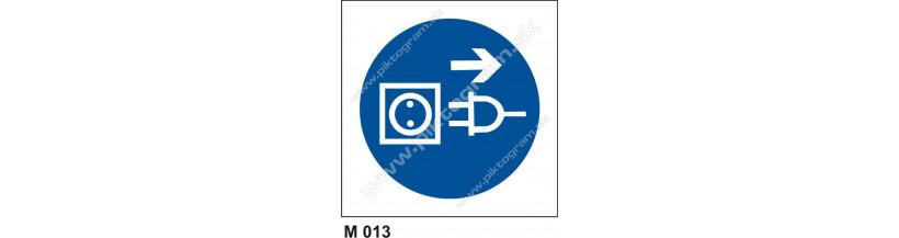 Príkaz na vytiahnutie zo zásuvky pred otvorením - PO a BOZP označenie, piktogram,