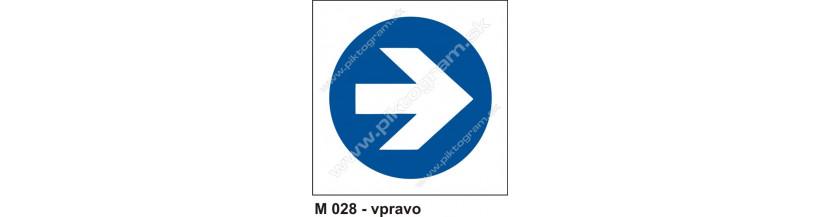 Prikázaný smer vpravo - bezpečnostné značenie PO a BOZPO