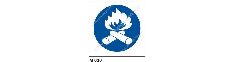 Priestor vyhradený na zakladanie ohňa - bezpečnostné značenie
