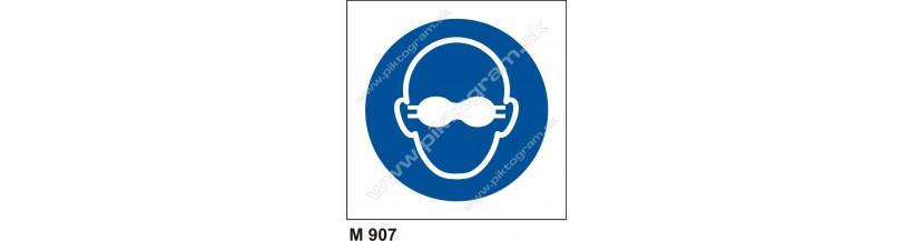 Príkaz na používanie tmavých okuliarov - bezpečnostné značenie, piktogram