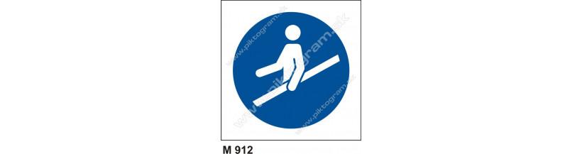 Príkaz na používanie zábradlia - PO a -BOZP značenie, piktogram