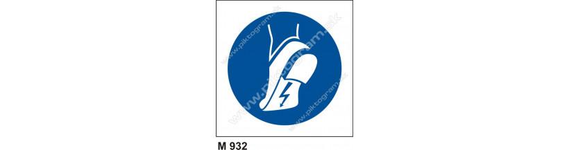 Príkaz na používanie vodivej obuvi - bezpečnostné značenie, piktogram