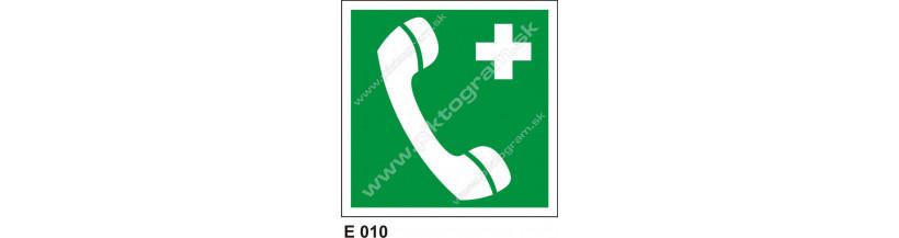 Núdzový telefón pre prvú pomoc alebo únik - beznečnostné značenie