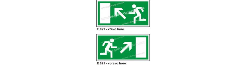 Úniková cesta - únikový východ nahor - bezpečnostné značenie