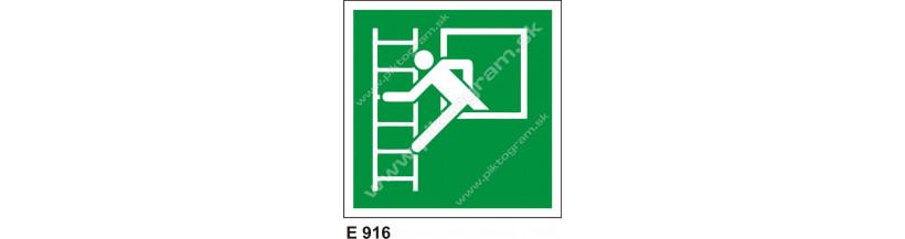 Núdzové okno s únikovým rebríkom - značenie PO a BOZPO