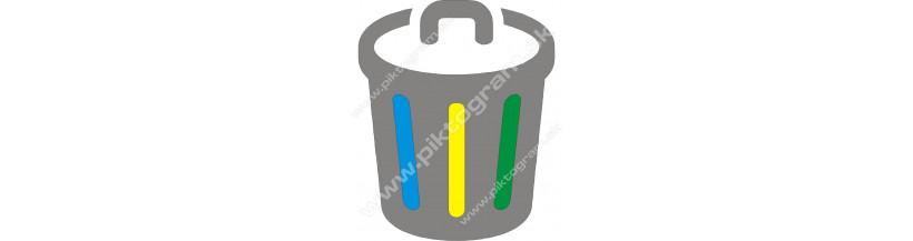 Separovaný recyklovaný odpad, označenie, samolepky, tabuľky