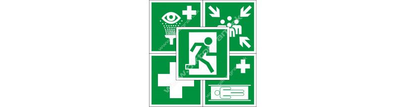 Záchranné značenie - bezpečnostné nálepky a tabuľky