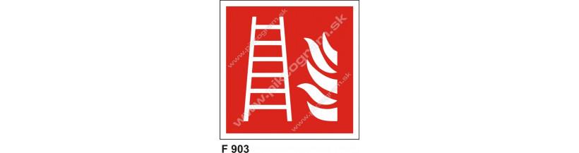 Požiarny rebrík piktogram ISO 7010 norma
