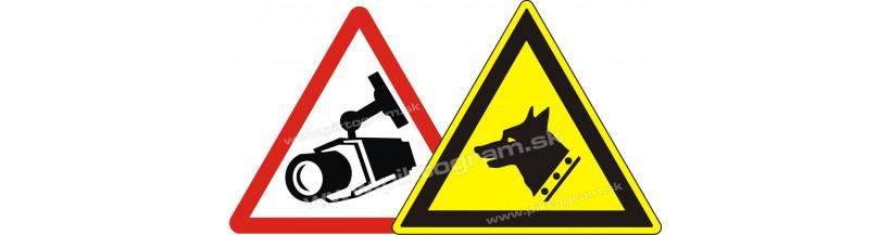 kamerový systém značenie, pozor pes, chránené alarmom