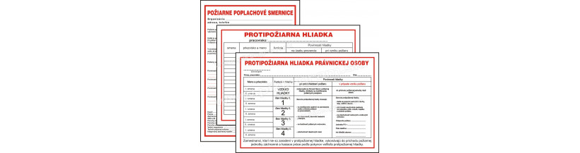 Požiarne hliadky a poplachové smernice - bezpečnostné tabuľky