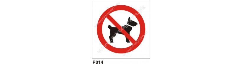 Zákaz vstupovať so zvieratami - bezpečnostné tabuľky a samolepky