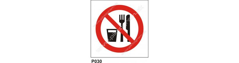 Zákaz jedenia a pitia na tomto mieste - bezpečnostná značka BOZP