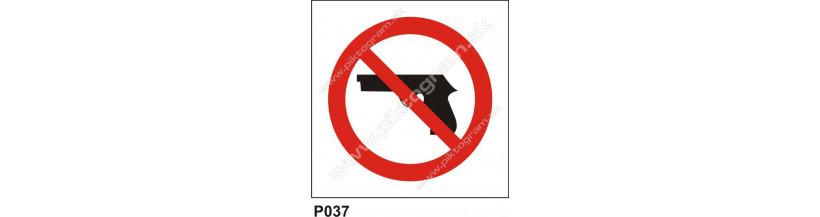 Zákaz vstupu so zbraňou - piktogramy, tabuľky BOZP, nálepky